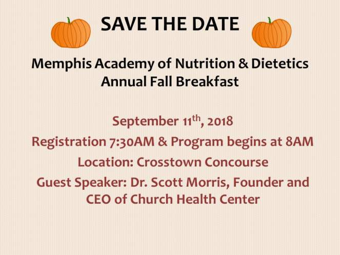SAVE THE DATE Fall Breakfast 2018
